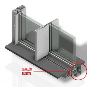 Canalon frontal desagüe ventana corredera minimalista