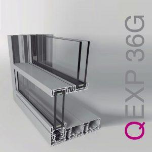 Ventana guillotina abisagrada minimalista